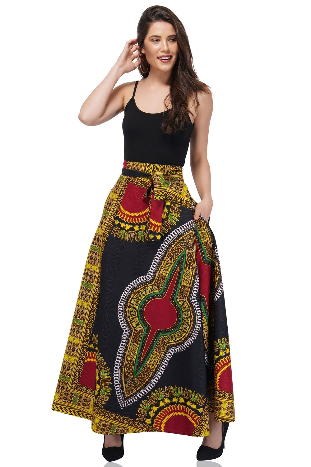 Traditional Dashiki Print Wrap Skirt