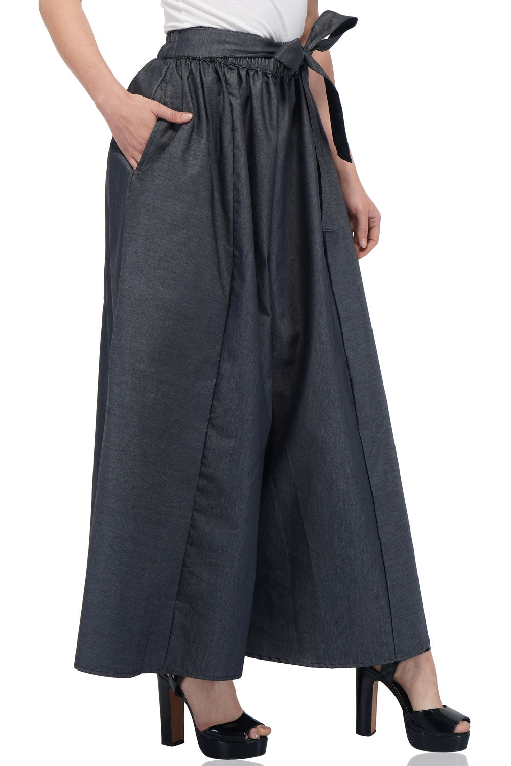 Smoked Grey Denim Palazzo Pants