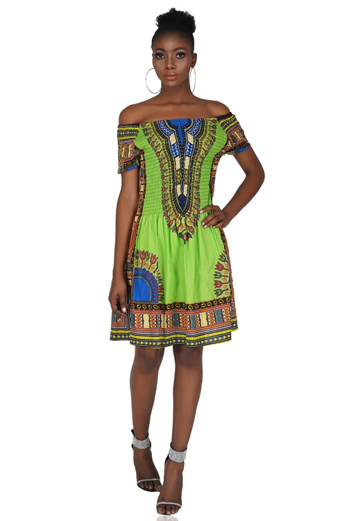 Green Dashiki Elastic/Smoked Top