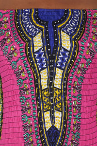 Pink Dashiki Elastic/Smoked Top