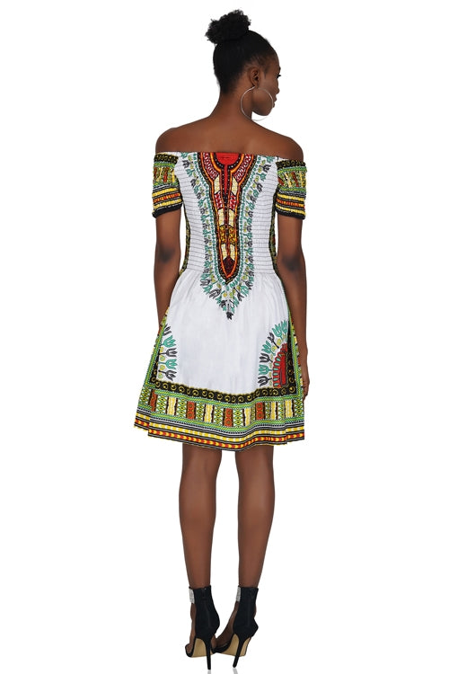 White Dashiki Elastic/Smoked Top