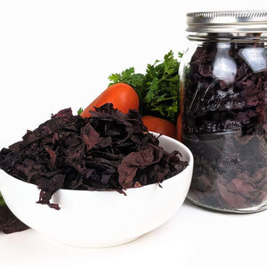 "Organic Dulse (Palmaria palmata) Whole Leaf Seaweed - ""Jar of Dulse"""
