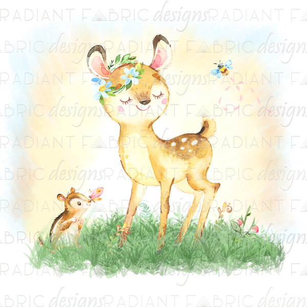 Forest Friends Deer Panel - Radiant Beginnings Preorder