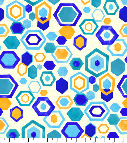 PREORDER Friendly Gouache Bees Hexagon Cool Cream - Bees and Such