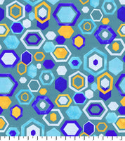 PREORDER Friendly Gouache Bees Hexagon Teal - Bees and Such