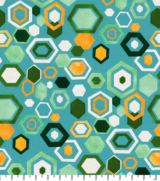 PREORDER Friendly Gouache Bees Hexagon Greens - Bees and Such