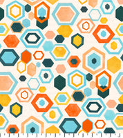 PREORDER Friendly Gouache Bees Hexagon Peach & Mint - Bees and Such