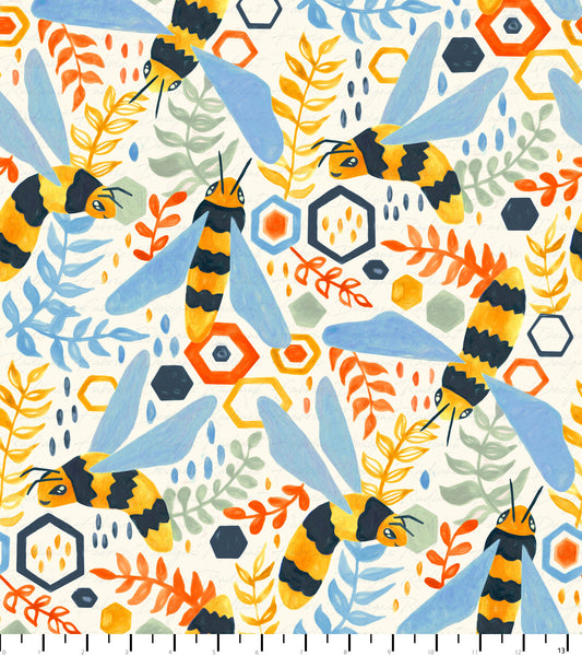 PREORDER Friendly Gouache Bees Warm Sage & Cornflower - Bees and Such