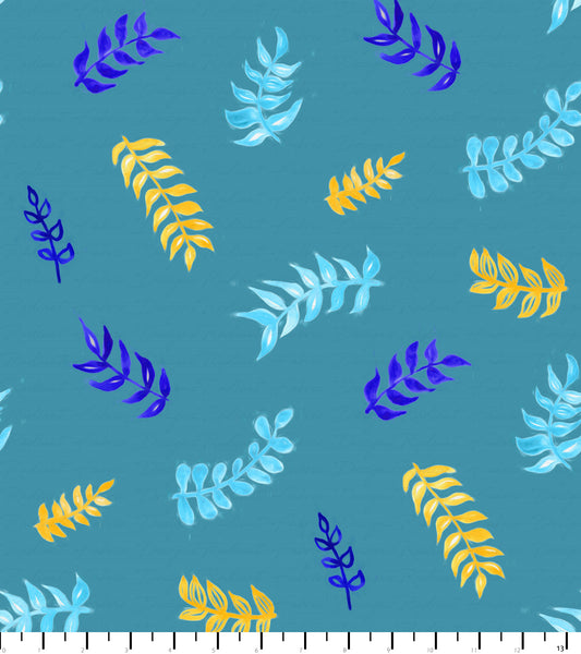 PREORDER Friendly Gouache Bees Leaves Teal, Blue, & Yellow - Bees and Such
