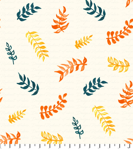 PREORDER Friendly Gouache Bees Leaves Orange, Yellow, Cream, & Navy - Bees and Such