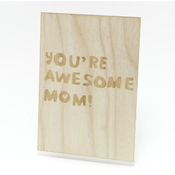 Houten Kaart: You're Awesome Mom - Turtlee Green