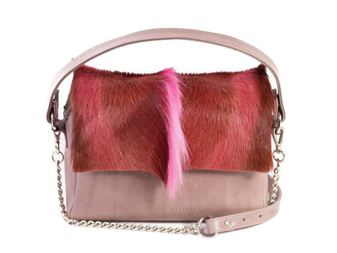 Pink Leather Satchel Handbag with a Fan