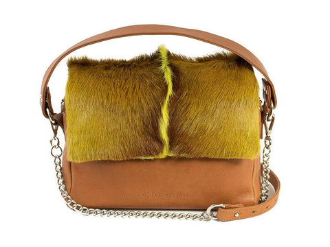 Lime Leather Satchel Handbag with a Fan