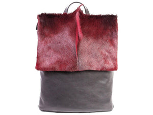 Burgundy Leather Backpack with a Fan - SHERENE MELINDA