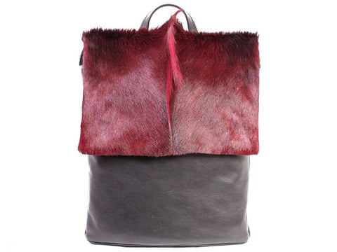 Burgundy Leather Backpack with a Fan