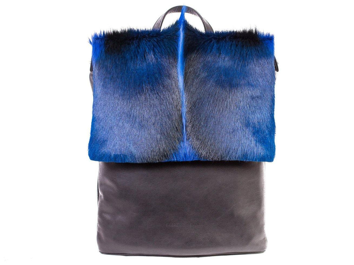 Royal Blue Leather Backpack with a Fan - SHERENE MELINDA