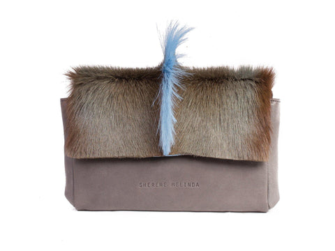 Baby Blue and Grey Sophy Leather Clutch Bag with a Fan