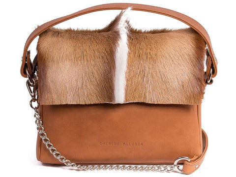 Natural and Terracotta Leather Satchel Handbag with a Fan