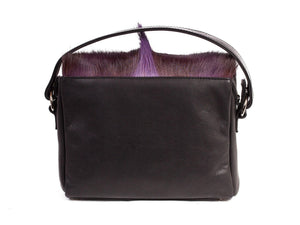 Purple Leather Satchel Handbag with a Fan - SHERENE MELINDA