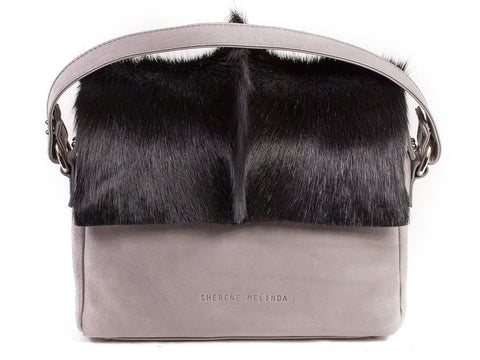 Black and Grey Leather Satchel Handbag with a Fan