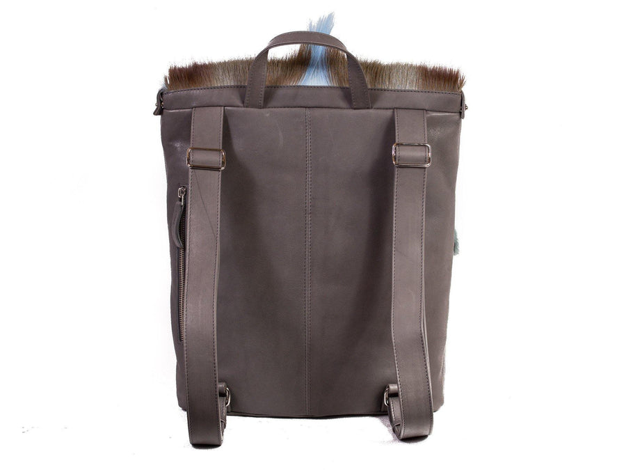 Baby Blue and Grey Leather Backpack with a Fan - SHERENE MELINDA