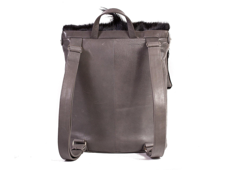 Black and Grey Leather Backpack with a Fan - SHERENE MELINDA