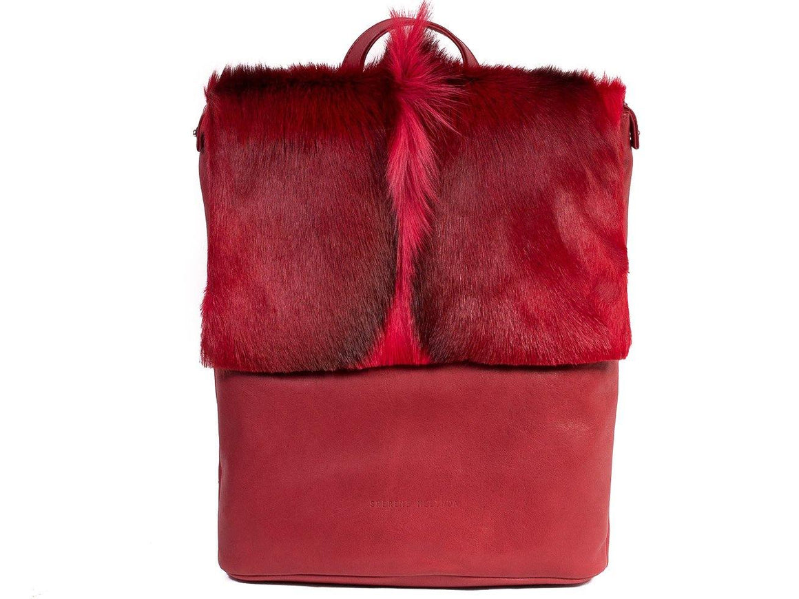 Red Leather Backpack with a Fan - SHERENE MELINDA
