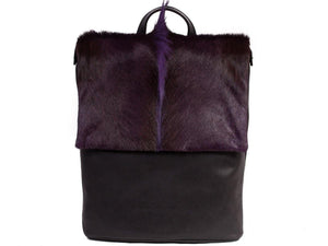 Purple Leather Backpack with a Fan