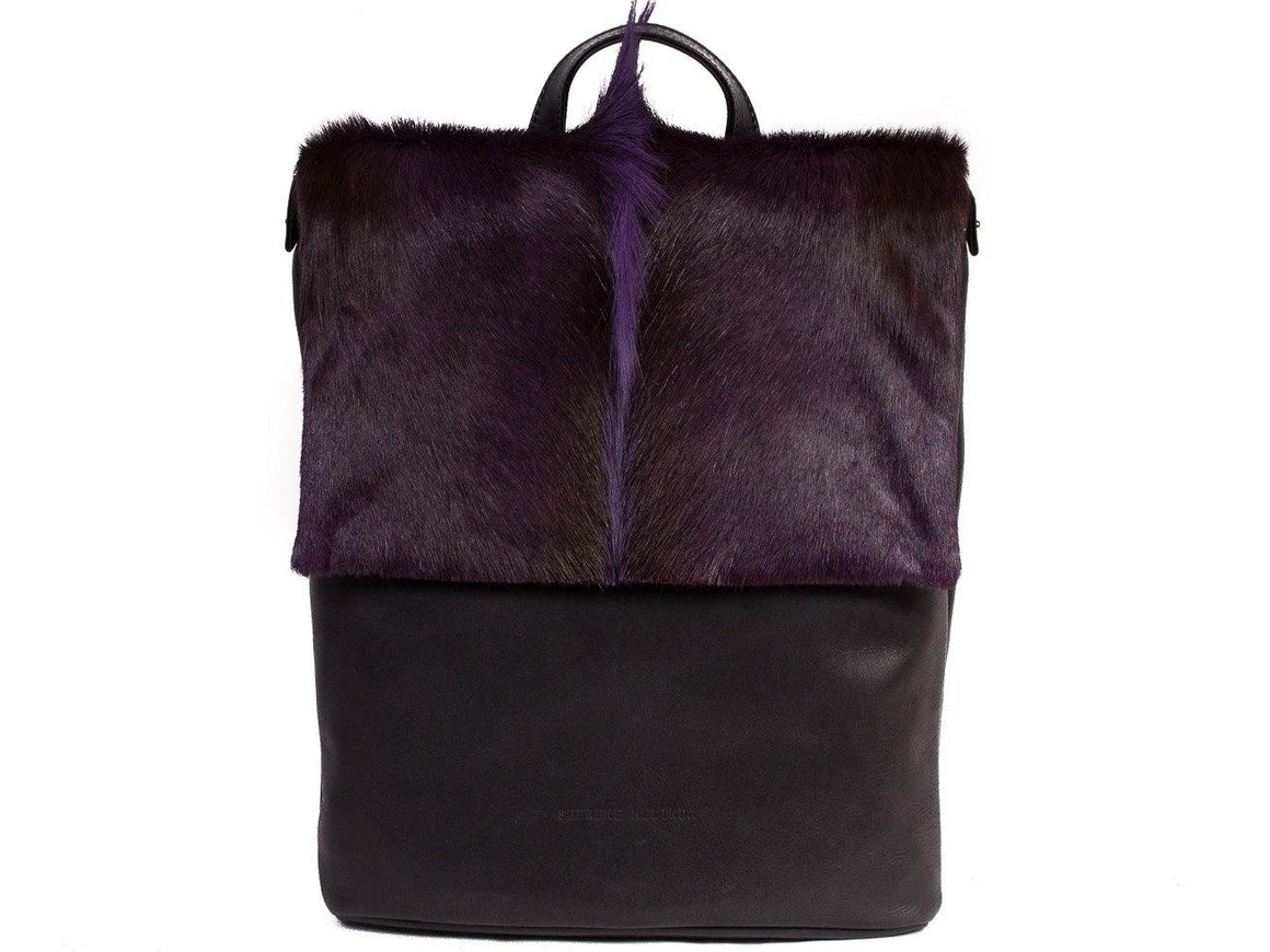 Purple Leather Backpack with a Fan - SHERENE MELINDA