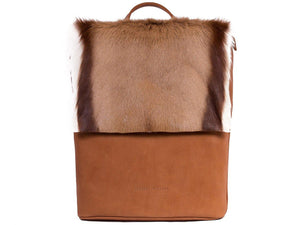 Natural and Terracotta Leather Backpack with a Stripe - SHERENE MELINDA