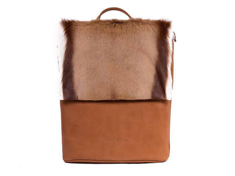 Natural and Terracotta Leather Backpack with a Stripe