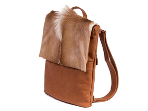 Natural and Terracotta Leather Backpack with a Fan - SHERENE MELINDA