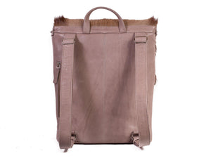 Silver and Taupe Leather Backpack with a Stripe