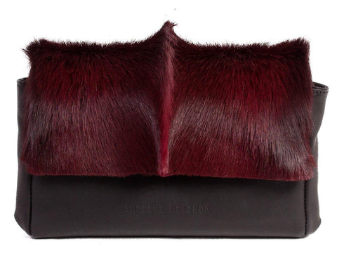 Burgundy Sophy Leather Clutch Bag with a Fan