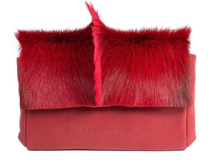 Red Sophy Leather Clutch Bag with a Fan