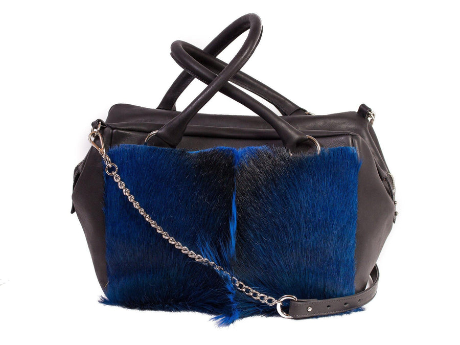 Royal Blue Box Bag with a Fan