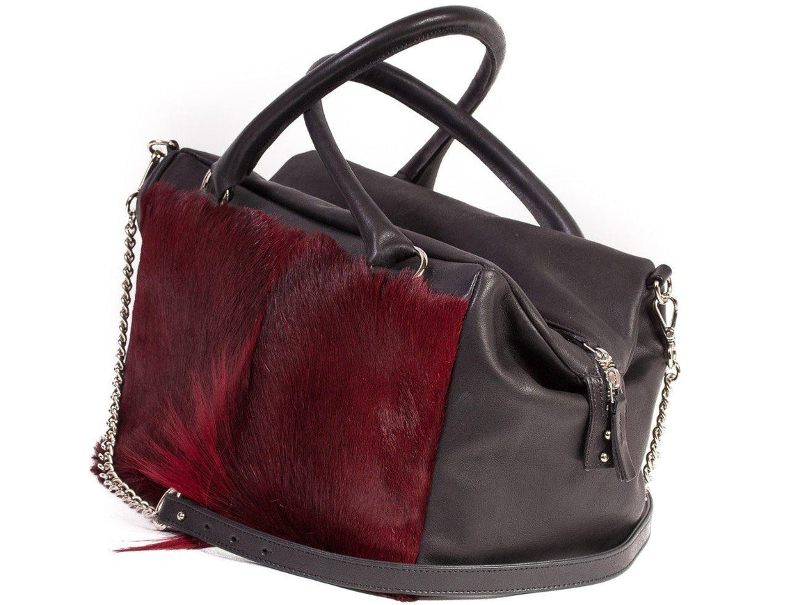 Burgundy Box Bag with a Fan - SHERENE MELINDA