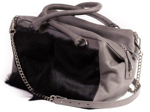 Black and Grey Box Bag with a Fan - SHERENE MELINDA