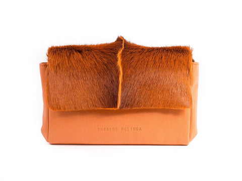 Orange Sophy Leather Clutch Bag with a Fan