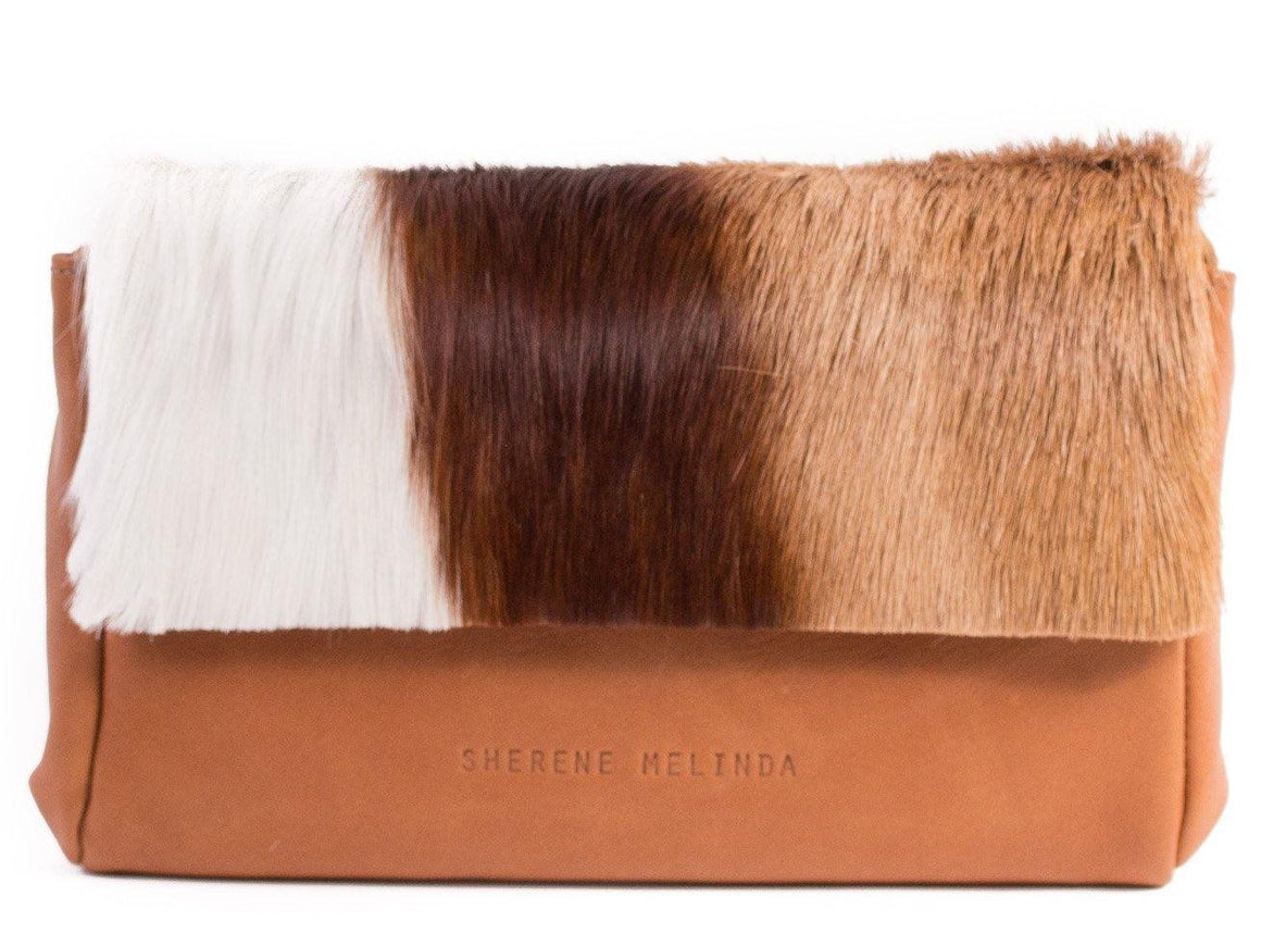 Natural and Terracotta Sophy Leather Clutch Bag with a Stripe - SHERENE MELINDA