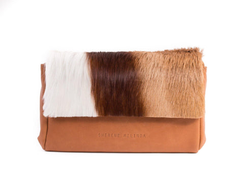 Natural and Terracotta Sophy Leather Clutch Bag with a Stripe