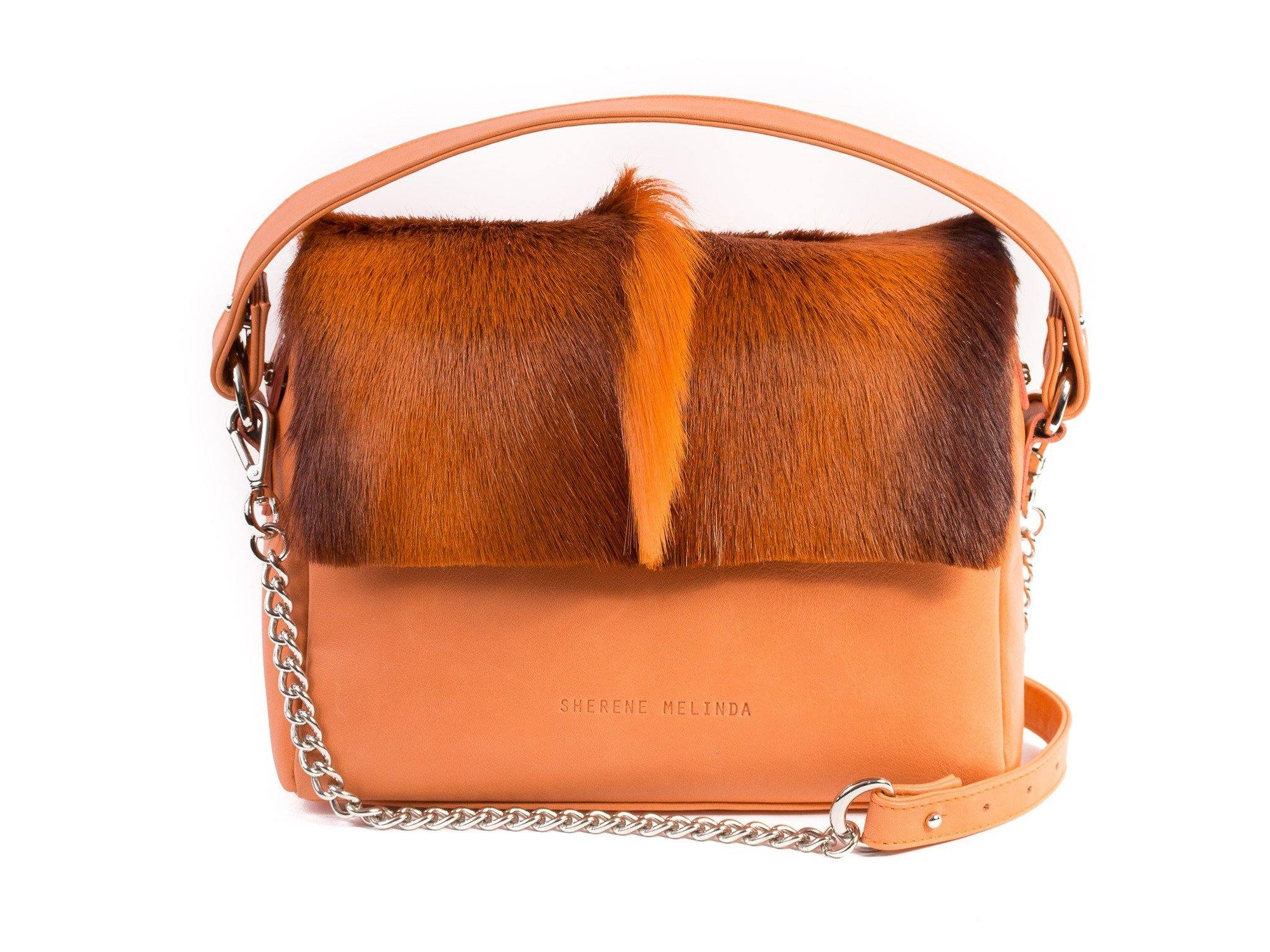 Orange Leather Satchel Handbag with a Fan - SHERENE MELINDA