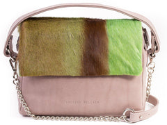 Apple Green Leather Satchel Handbag with a Stripe
