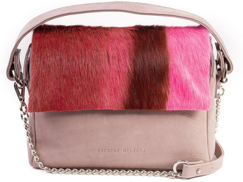 Pink Leather Satchel Handbag with a Stripe
