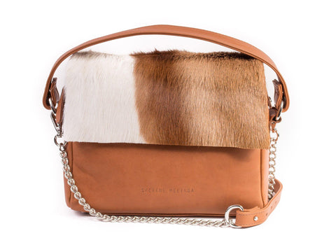 Natural and Terracotta Leather Satchel Handbag with a Stripe