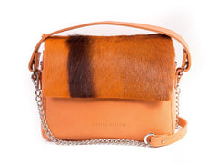 Orange Leather Satchel Handbag with a Stripe