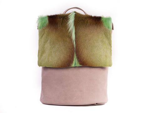 Apple Green Leather Backpack with a Fan