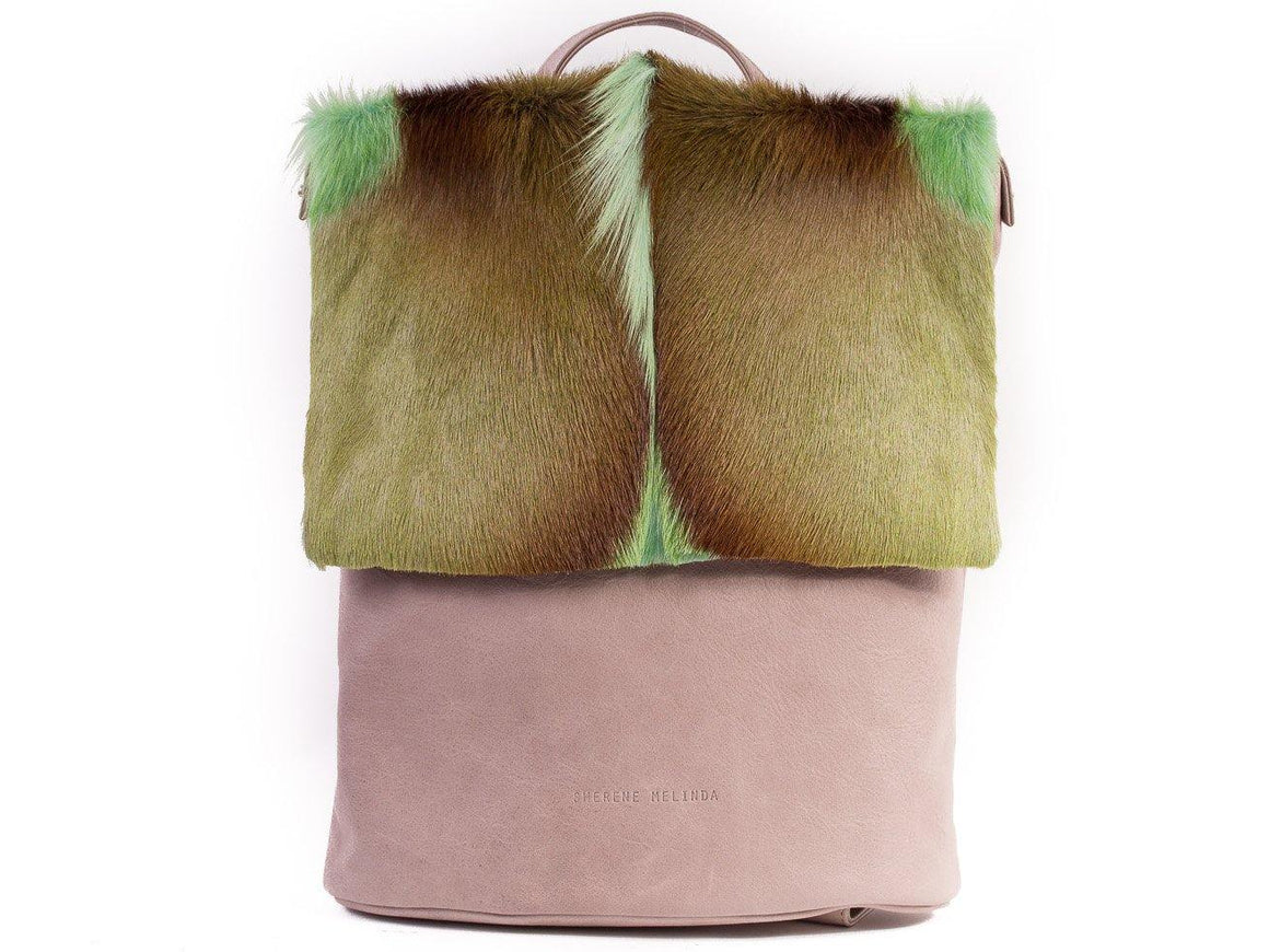 Apple Green Leather Backpack with a Fan - SHERENE MELINDA
