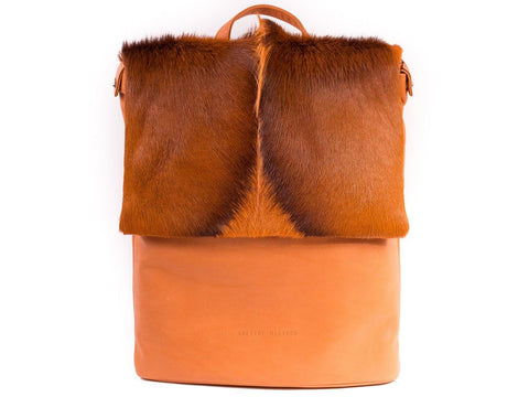 Orange Leather Backpack with a Fan