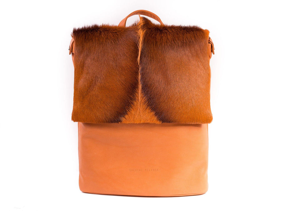 Orange Leather Backpack with a Fan - SHERENE MELINDA